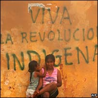 "Graffiti reads ""Long live the indigenous revolution"" in Santa Cruz, Bolivia, on Wednesday"