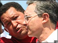 Venezuela's Hugo Chavez and Colombia's Alvaro Uribe in October 2007