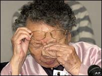 Korean former comfort woman, Ok Gil-won, cries at the European parliament in Brussels on 6 November