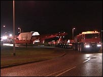 The large load being transported to the Langage power station