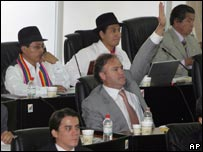 Members of Ecuador's assembly meet in Montecristi to begin work on rewriting the constitution