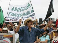 Supporters of Ecuador's constituent assembly gather outside as the assembly