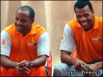 West Indies stars Brian Lara and Merv Dillon