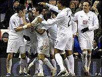 Spurs celebrate Darren Bent's winner against Aalborg in the Uefa Cup