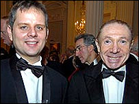 Labour's then-general secretary Peter Watt and donor David Abrahams at a dinner earlier this year