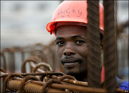 A South Africa stadium construction worker