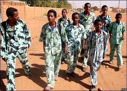 Sudanese school boys walking home from school in Omdurman