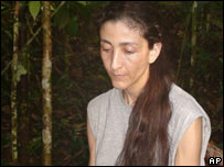 This photo released by the Colombian government shows former presidential candidate Ingrid Betancourt