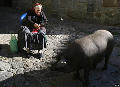 A woman and a pig in La Alberca, Spain, 30 November 2007