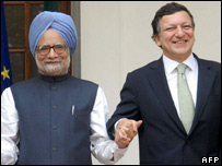 Indian PM Manmohan Singh and EC President Joes Manuel Barroso