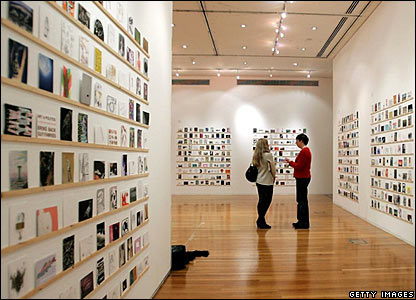Postcard-size artwork on display at Royal College of Art