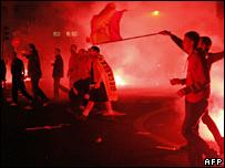 Aberdeen fans in Madrid