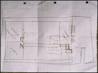 Hand-drawn plan of the depot (from Kent Police)