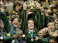 South Africa celebrate their victory over England in the 2007 World Cup final