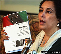Benazir Bhutto with her manifesto