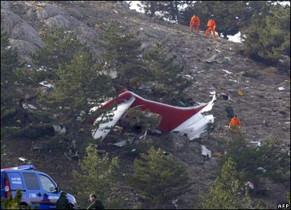 Part of the crashed McDonnell Douglas 83 aircraft, near Keciborlu, in Isparta province, Turkey.