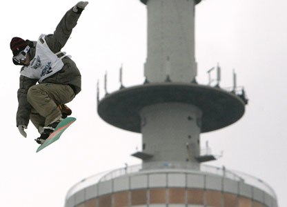 US snowboarder Danny Davis practises in Munich, southern Germany.