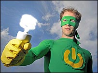 "Neil Jennings dressed as an ""Eco Power Ranger"""