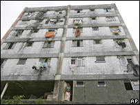 A run-down building in the Cantagalo  favela, Rio de Janeiro