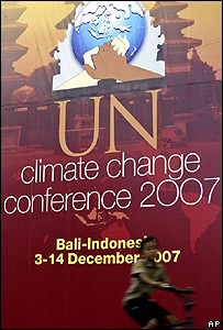 Poster for the UN Climate Change Conference in Bali (Image: AP)