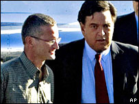 Paul Salopek (L) and Governor Bill Richardson