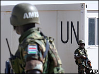 Members of the AU/UN peacekeeping force for Darfur