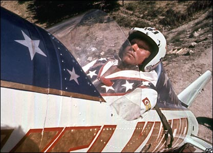 Evel Knievel sitting in his rocket before the stunt.