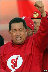 Venezuelan President Hugo Chavez addresses a rally in Caracas