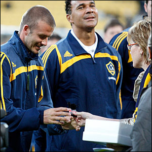 David Beckham, Ruud Gullit and Wellington Mayor Kerry Prendergast