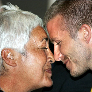 David Beckham enjoys a traditional Maori greeting as he arrives in Wellington, New Zealand, with the LA Galaxy