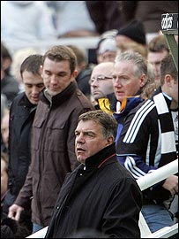 Sam Allardyce and Newcastle fans leaving St James' Park during the match against Liverpool