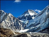 Everest seen through mountain pass