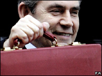 Gordon Brown leaving No 11 Downing Street with his red box prior to his 2007 Budget speech