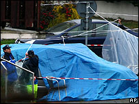 French police at the scene of the shooting of two Spanish civil guards
