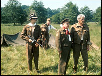 Dad's Army characters including Captain Mainwaring (second right) in a scene filmed near Thetford