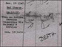 Pte Bateman's court martial death sentence