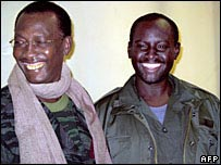 Chad President Idriss Deby (L) and Mahamat Nour (R)