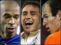 France's Thierry Henry, Italy's Fabio Cannavaro and Holland's Arjen Robben