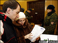 People vote in Russia