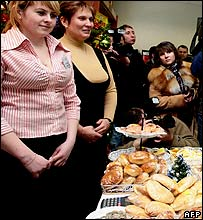 Food on offer at a Moscow polling station