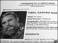 Boleta de nominaci�n de Fidel Castro a la Asamblea Nacional