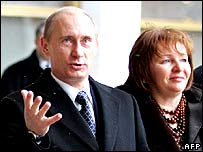Mr Putin and his wife after voting in Moscow