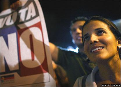 Opposition members celebrate in Caracas