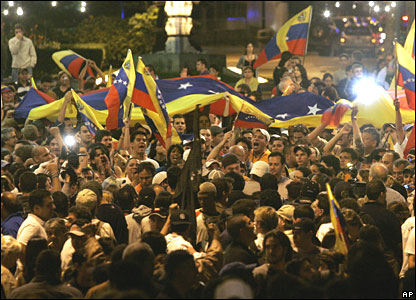 Opposition members at Altamira Square in Caracas