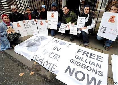Protesters in London calling for Mrs Gibbons to be freed