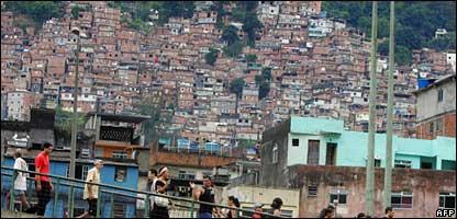 Street scene in Brazilian shanty town, AFP