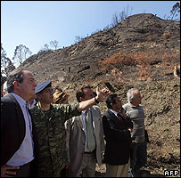 Prime Minister Costas Karamanlis (far left) inspecting Hill of Kronos, 22 Sep 07