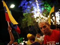 Opposition supporters celebrate in Caracas