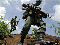 Congolese army soldiers on patrol in the east
