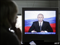 Vladimir Putin speaks on Russian television before the election (29 November 2007)